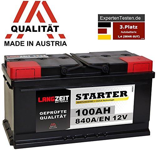 LANGZEIT Autobatterie 12V 100Ah