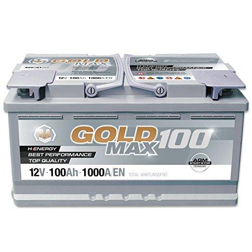 GoldMax AGM – 12 V / 100 Ah – 1000 A/EN Autobatterie KFZ PKW Batterie
