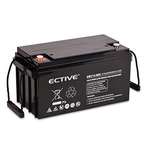 ECTIVE Bleiakku 12V 87Ah Zyklenfeste AGM Batterie Blei Akku EBC-Serie 13 Varianten: 25Ah – 280Ah (wartungsfrei)