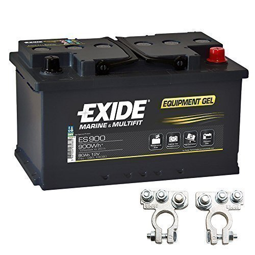 Gel Batterie ES 900 12V 80Ah Akku Exide inkl. Polklemmen Boot Solar Wohnmobil