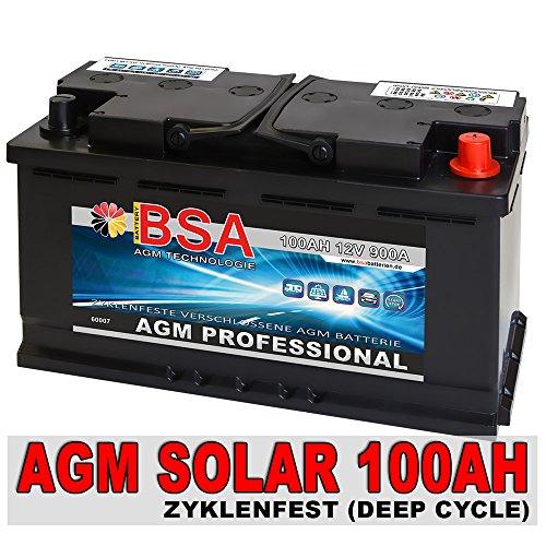 Solar Batterie 100AH 12V AGM Gel Versorgungsbatterie Wohnmobil Boot Akku